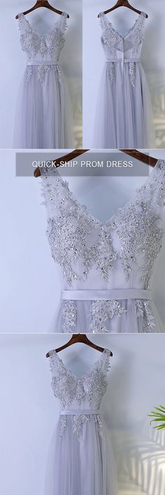 Only $109, Prom Dresses Grey Beaded Long Tulle Prom Dress V-neck Sleeveless #MYX18062 at #GemGrace. View more special Bridal Party Dresses,Prom Dresses now? GemGrace is a solution for those who want to buy delicate gowns with affordable prices. Free shipping, 2018 new arrivals, shop now to get $10 off!