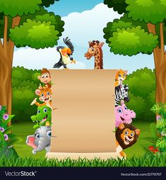 Animals with blank sign at forest Royalty Free Vector Image – Wall Products Borders For Paper, Borders And Frames, Safari Party, Safari Theme, Free Vector Images, Vector Free, Adobe Illustrator, Photo Frames For Kids, Cute Cartoon Images