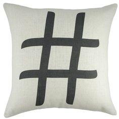 TheWatsonShop Hashtag Cotton Throw Pillow