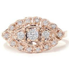 .45CT Antique Diamond Ring 14K Rose Gold Vintage Anniversary Engagement Unique #Pompeii3Inc #SolitairewithAccents