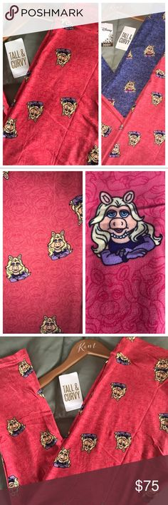 Lularoe Disney TC Ms.Piggy Leggings, Set Available One of the biggest Lularoe Disney unicorns, the fabulously sassy Miss Piggy! How FUN are these?! Beautiful coral pink background, this color matches the fun print PERFECTLY! Miss Piggy is sporting a violet dress, light purple gloves and a pearl necklace. Every detail was thought of! Miss Piggy is sketched all throughout the background as well. I have TWO available, bundle both for a special price! Check out my other fabulous Lula! Ask…