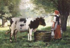 Julien Dupre  (1851 - 1910): The Milkmaid