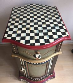 Whimsical Mackenzie Childs Inspired End Side Table Cabinet w/ Drawer Checked