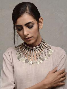 Maroon Vintage Silver Necklace with Floral Motif