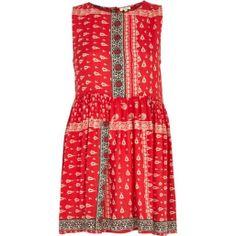 Red tribal print sleeveless smock dress - day / t-shirt dresses - dresses - women