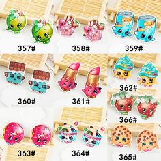 50pcs/lot Mixed Styles Cartoon Shopkins Flatback Resin for Hair Bows Kawaii Snack Planar Resin DIY Crafts for Home Decorations
