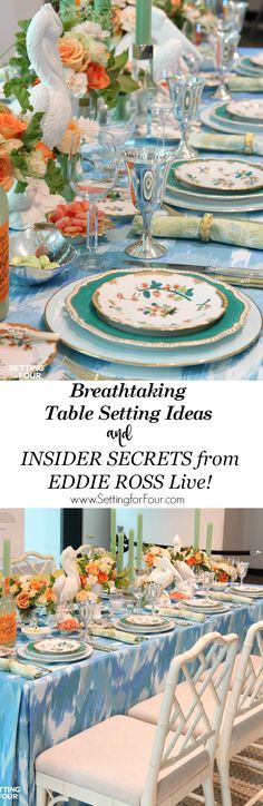 I sawEddie Ross live and he revealed his insider secrets on how tocreate a breathtaking table setting for a memorable dining experience! And I'm sharing them all with you! Discoverhis secret tips on choosing chicdinnerware, plates, cutlery, glasses, centerpiece and exciting tabletop decor ideas.You'll LOVE these entertaining tips! For dinner party or wedding reception. www.settingforfour.com