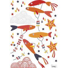 Planche de stickers Poissons japonais rouge  - Lilipinso and Co