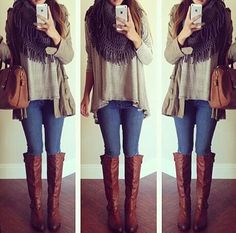black and white thin striped loose and long shirt, dark blue skinny jeans, dark brown tall leather boots, and a dark grey infinity scarf.