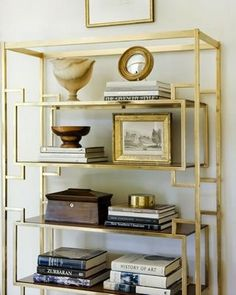 brass shelving or silver.... Use vintage shelving and spay paint it for nice office library or office items