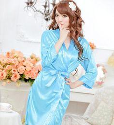 listing Women Sexy Satin Lace silk Robe Sleepwear Lingerie Nightdress G-string Pajamas bathrobe dressing gown hot sale