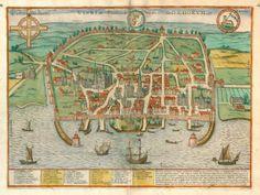 antique map of visby, sweden