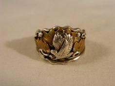 Sterling Silver and Copper Eagle Ring / Mens Vintage Bird Ring Size 11