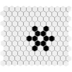 Merola Tile Metro Hex Glossy White with Black Snowflake 10-1/4 in. x 11-3/4 in. x 5 mm Porcelain Mosaic Tile (8.54 sq. ft. / case)-FXLM1HGS - The Home Depot