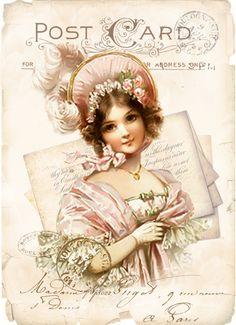 Vintage postcard letter girl digital collage p1022 For personal use........