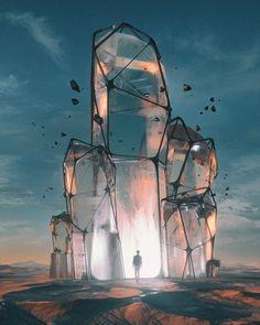 Metaltonium by Beeple Imagine Dragons, Fantasy Places, Fantasy World, Art And Illustration, Fantasy Concept Art, Fantasy Art, Fantasy Kunst, Blender 3d, Fantasy Landscape