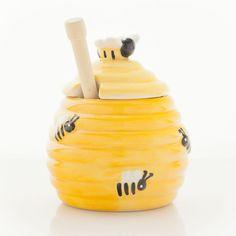 Honigtopf mit Biene Honigspender Honigdose Keramik mit Honignehmer Honiglöffel