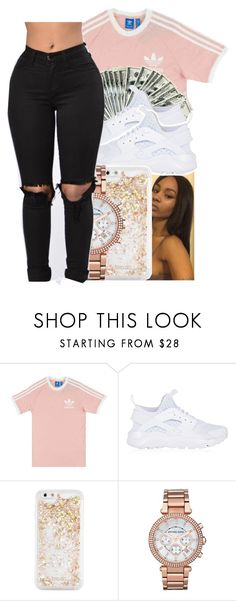 """""""could it be the way that I catch up?"""" by glowithbria ❤ liked on Polyvore featuring adidas Originals, NIKE, ban.do and Michael Kors"""