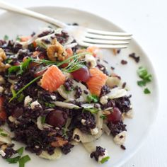 Black Rice Salad (adapted from La Tartine Gourmande) Green Lentil Salad, Black Rice Salad, Green Lentils, Grilled Peach Salad, Lunch Catering, Grain Foods, Vegetable Bowl, Fresh Herbs, Food Inspiration