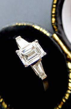 Art deco style platinum emerald cut diamond engagement ring, three stone vintage style emerald cut diamond ring, platinum & diamond ring