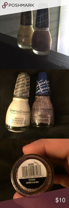 Kylie sinful colors polish 2 Kylie polishes in Butter Kup (yellow) and Denim & Bling (multi glitter) never used NWOT Kylie Cosmetics Makeup