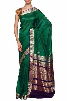 Peacock green daagina silk peshwai paithani saree