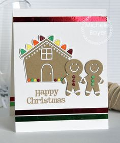 Happy Christmas card by Michele Boyer for Paper Smooches - Gingerbread House Die, Be Merry