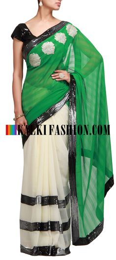 Buy Online from the link below. We ship worldwide (Free Shipping over US$100) http://www.kalkifashion.com/half-and-half-saree-in-green-and-cream-with-sequence-work.html Half and half saree in green and cream with sequence work