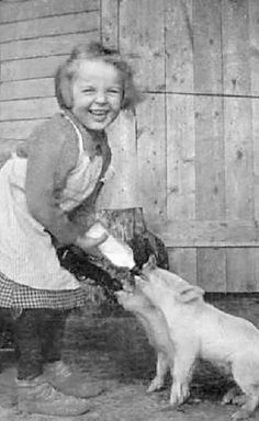 Taking care of farm animals: a common task for children who were too young to work in the fields or around a hot stove in the kitchen. It was also a great way to introduce kids to the economics of farm labour.