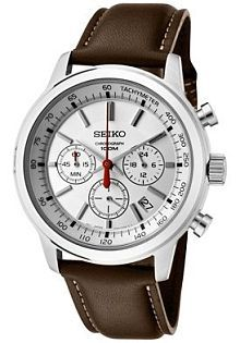 Men's Classic Chronograph Silver Dial Brown Leather  by Seiko