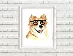 Corgi dog water colour art painting, corgi watercolour print, dog picture, corgi picture, dog with glasses by LittleFellaPrints on Etsy (null)