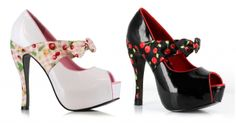 Spring pin-up picnic cheery pop heels in black and cherry with red piping or pink with a mixed fruit pattern!   The Violet Vixen - Cherry Pop Bettie, $105.00 (http://thevioletvixen.com/shoes/cherry-pop-bettie/)