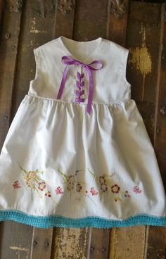 18 Months Embroidered Baby Dress Vintage Pillowcase 18 Months Infant Dress Shabby Chic Floral Embroidery Infant Summer Dress