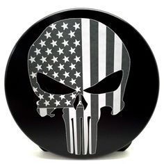 Punisher Skull with Flag 4-inch Billet Trailer Hitch Cover