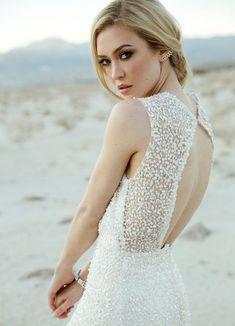 Love the back of this Sarah Seven dress! #weddingdress