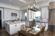 Kitchen Awesome Kitchen Concepts For Portion of the Price: Awesome Neutral Kitchen Design With Backsplash Inspiration Plus A Single Chisel Pendant Lamp With Four Wooden Dinig Chairs Plus A Couple Of Sink In Stainless Steel Also A Curtain