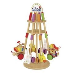 Promote an assortment of Push Pals with this wood Educo display, which includes 8 Push Pals.