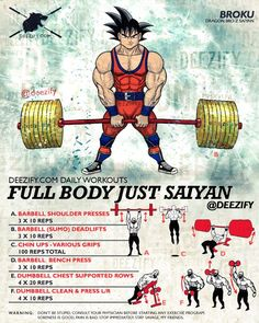The Full Body Workout To Go Super Saiyan. Get some hard basics in to start changing your body. #goku #deadlift #powerlifting #fitness #workout