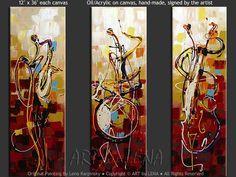 """""""Jazz Trio"""" - Original Music Art by Lena Karpinsky, http://www.artbylena.com/original-painting/21000/jazz-trio.html"""