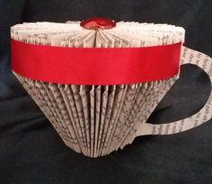 BOOK FOLDING - BOOK ART - TEA CUP