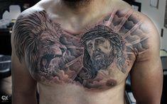 8515f6458431f Instagram post by Capone (Cap1Tattoos) • Oct 17, 2017 at 1:00pm UTC. Lion  Chest TattooChest Piece TattoosChest Tattoo Black And GreyTattoo ...