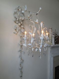 Chandelier lighting swag w/ ornate wall hook by AnitaSperoDesign