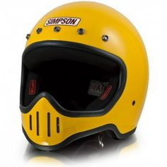 Simpson M50 Yellow Helmet Classic Motorcycle Helmet, Motorcycle Helmets, Bicycle Helmet, Custom Bike Helmets, Custom Bikes, Simpson Helmets, Man Gear, New Helmet, Vintage Helmet