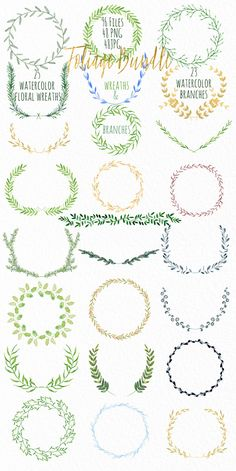 Wreath & branches watercolor by LABFcreations on @creativemarket
