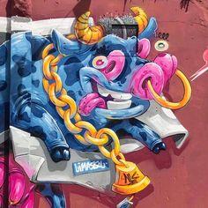 Detail from our Mural in #limassol #Cyprus we painted for #streetlife #festival  #arsek #erase #mural #cow #milk #loopcolors
