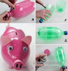 Best of waste ideas from plastic bottles - New Craft ideas Waste Bottle Craft, Plastic Bottle Crafts, Plastic Bottles, Plastic Bottle Decoration, Art N Craft, Diy Art, Best From Waste Ideas, Piggy Bank Craft, Craft From Waste Material