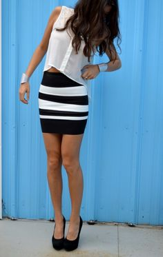 white-black, fashion, style, trends, skirt