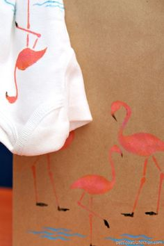 a19b5ba80573 cute pink flamingo gift bag with stenciled onesie for new baby Flamingo  Gifts