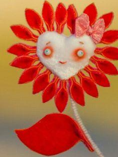 Needle felt flower uding wire stem