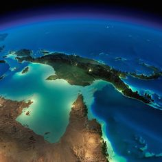 Earth At Night: 15 Stunning Images Taken From Space By NASA - Page 15 of 15 - flipopular, Papua New Guinea Earth At Night, Earth Photos, Sistema Solar, Earth From Space, Papua New Guinea, Planet Earth, Mother Earth, Cool Pictures, Nasa Pictures